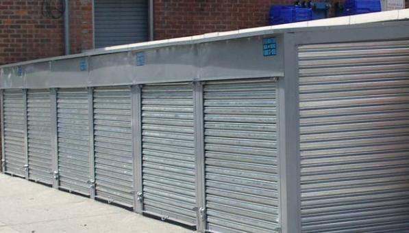 Solid Galvanized Steel Pushup Roll Down Security Gate Reverse Mounted With  Back Plates. (Bronx
