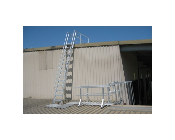 Simple Steel Fixed Roof Access Ladder With Side Rails And Landing. (Long  Island,